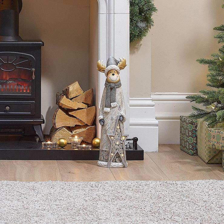 Fawna the 53cm Reindeer with LED Silver Star