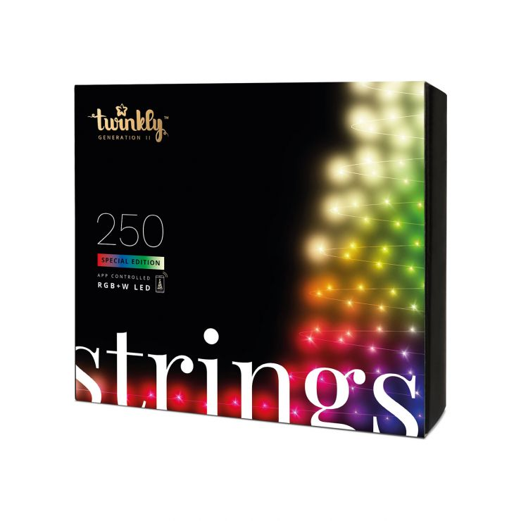 Twinkly 250 White & Colour Changing LED Smart App Controlled Christmas String Lights (20m Lit Length) Black Cable