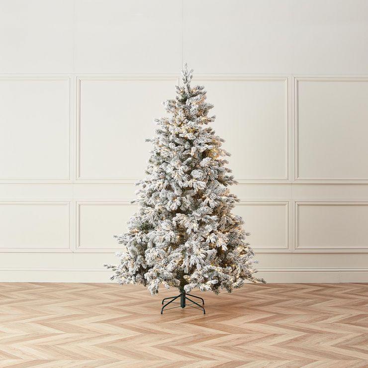 7ft Pre-Lit Premium Snowy Grand Fir Artificial Christmas Tree