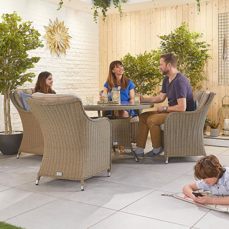Camilla 4 Seat Dining Set - 1.2m Round Table - Willow