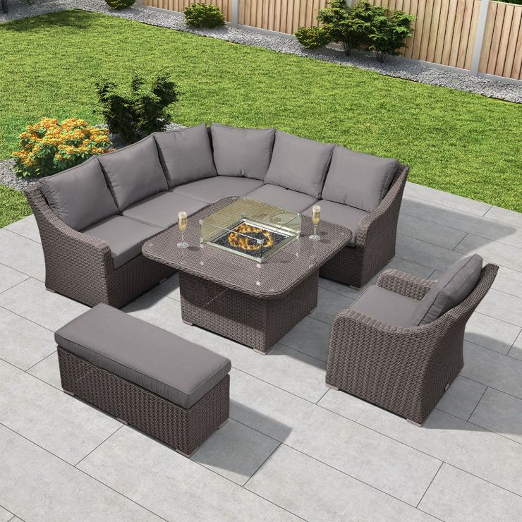 Harper Casual Dining Corner Sofa Set with Firepit Table - Slate Grey