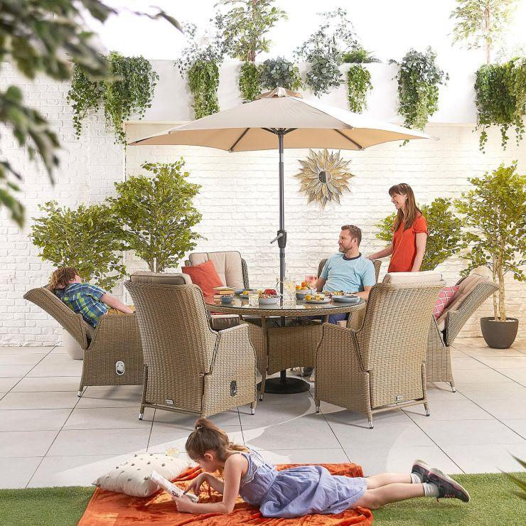 Carolina 6 Seat Dining Set - 1.35m Round Table - Willow