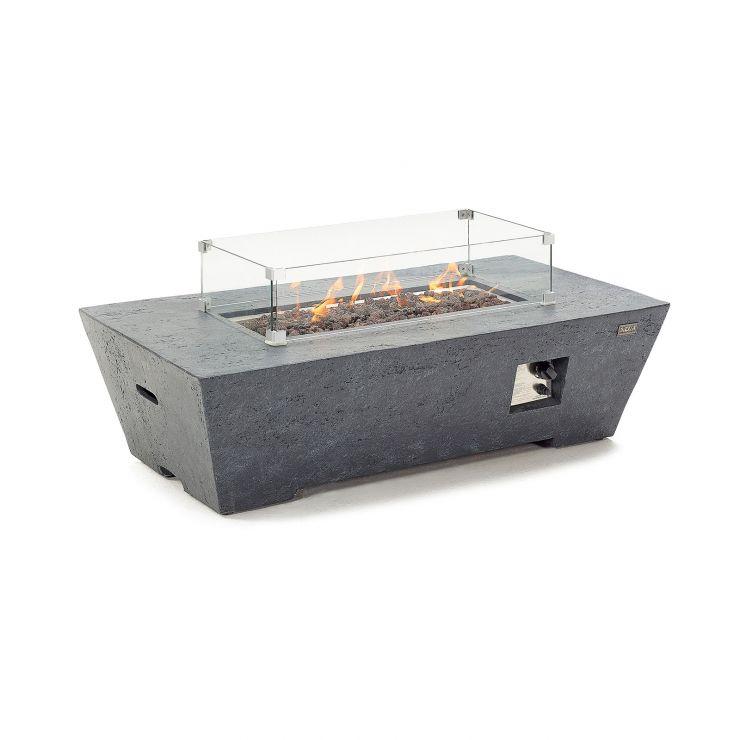 Fireglow Gladstone Rectangular Gas Firepit Coffee Table with Wind Guard - Dark Grey