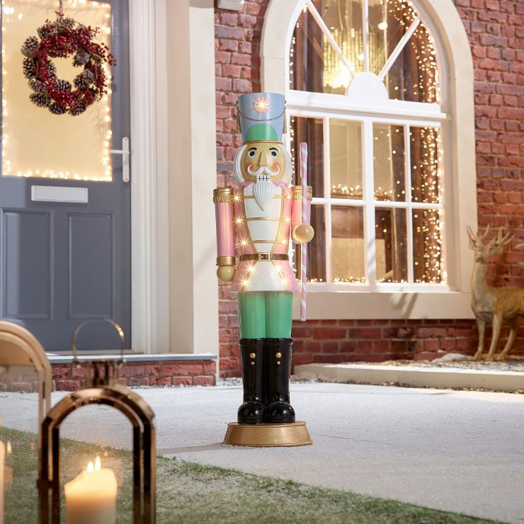 Noel the 3ft Pastel Pink Nutcracker with Candy Cane