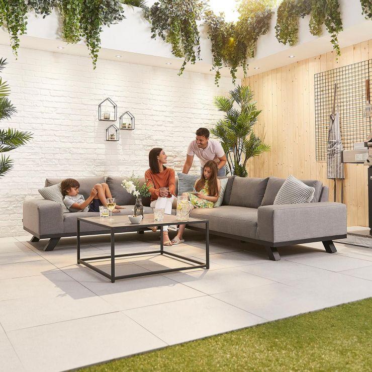 Tranquility Outdoor Fabric Corner Sofa Set - Light Grey