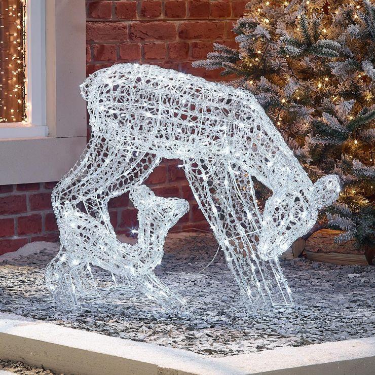 The Roscoe Mother & Baby - 70cm Soft Acrylic Christmas Reindeer