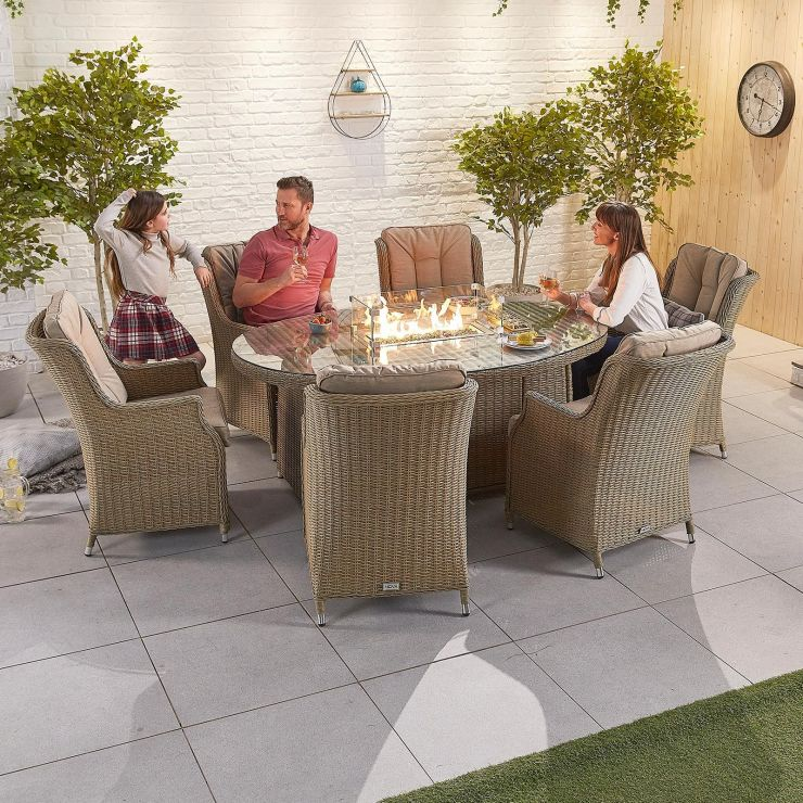 Thalia 6 Seat Dining Set - 1.8m x 1.2m Oval Firepit Table - Willow
