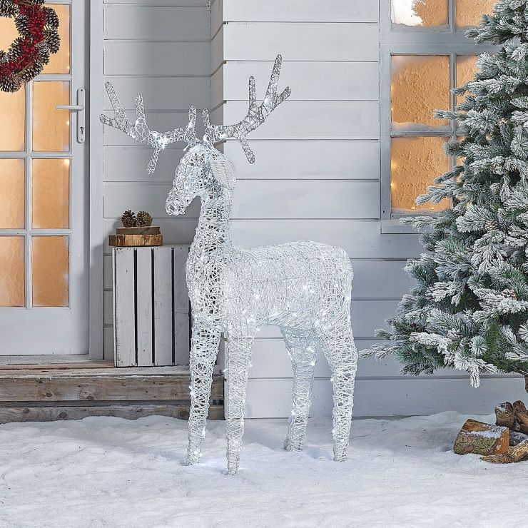 Ralph the 150cm White Rattan Christmas Reindeer