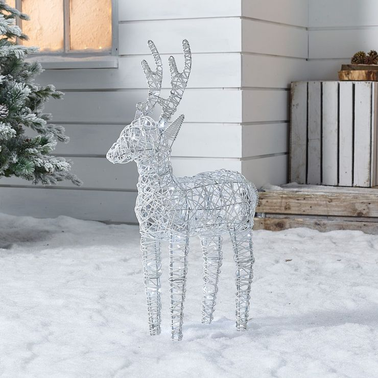 Baby Ralph the 80cm White Rattan Christmas Reindeer