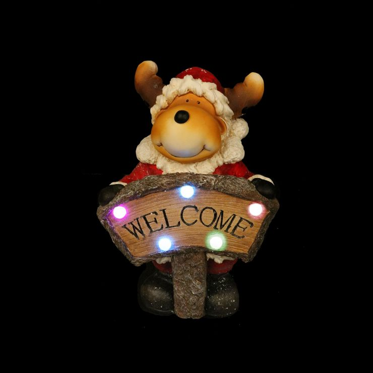 Smiley the 41cm Red Reindeer with LED Sign