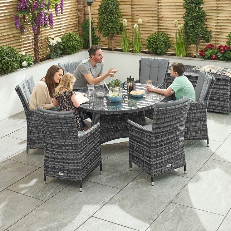 Sienna 6 Seat Dining Set - 1.3m Round Table - Grey
