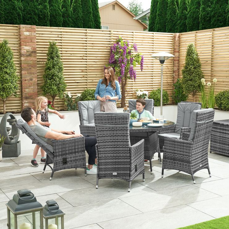 Ruxley 6 Seat Dining Set - 1.3m Round Table - Grey