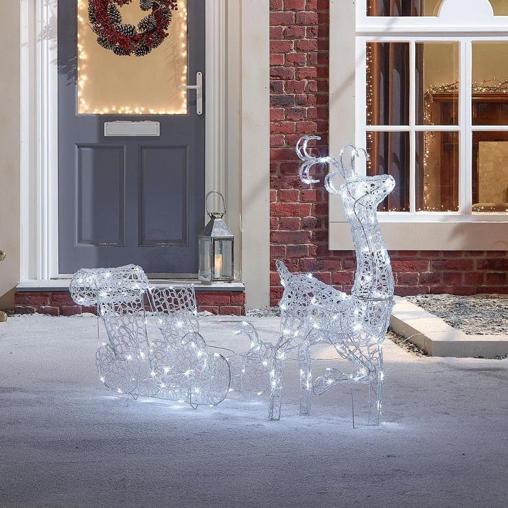 Ivandoe the 87cm Soft Acrylic Christmas Reindeer with Sleigh