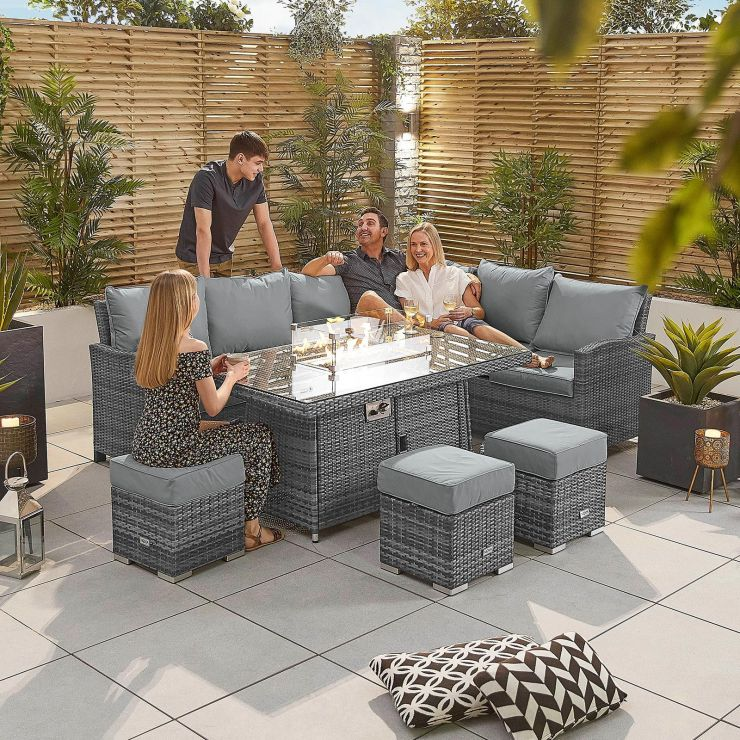 Cambridge Right Hand Casual Dining Corner Sofa Set with Firepit Table - Grey
