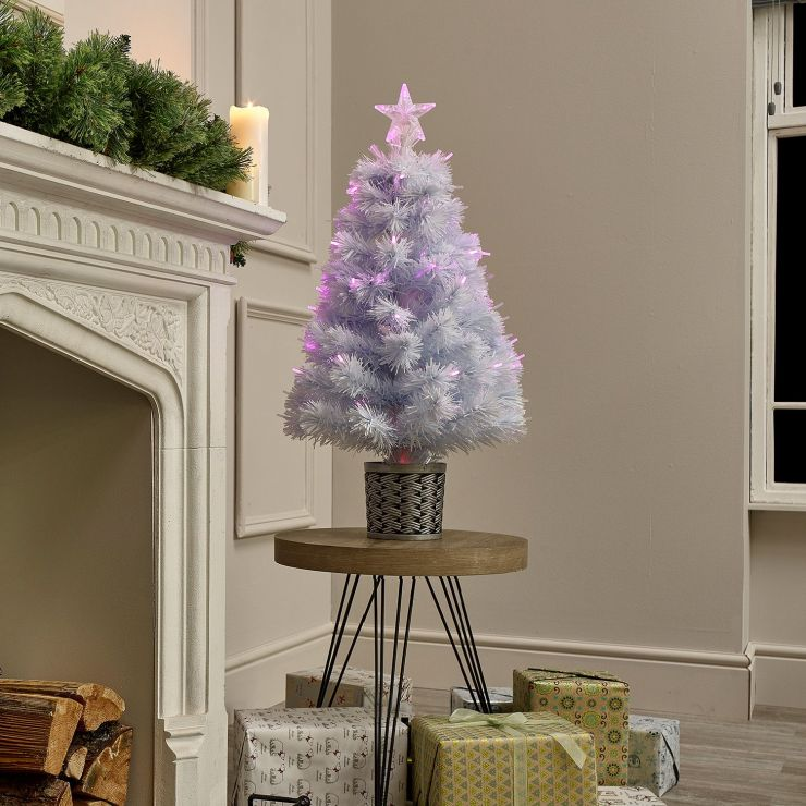 3ft Fibre Optic White & Pink Artificial Christmas Tree