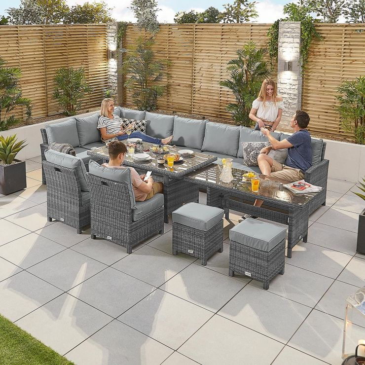 Deluxe Extending Cambridge Left Hand Casual Dining Corner Sofa Set - Grey