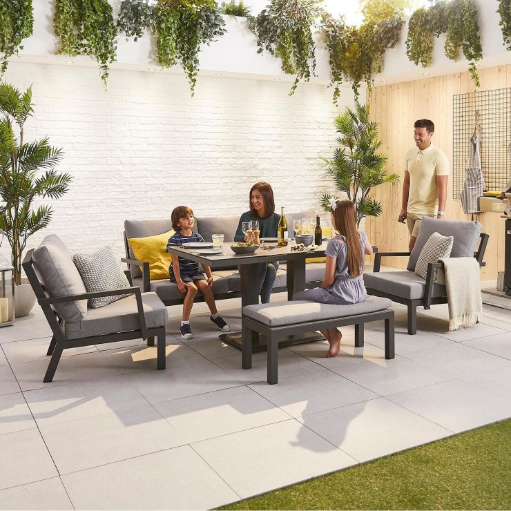 Vogue Aluminium Casual Dining 3 Seater Sofa Set with Rising Table & Bench