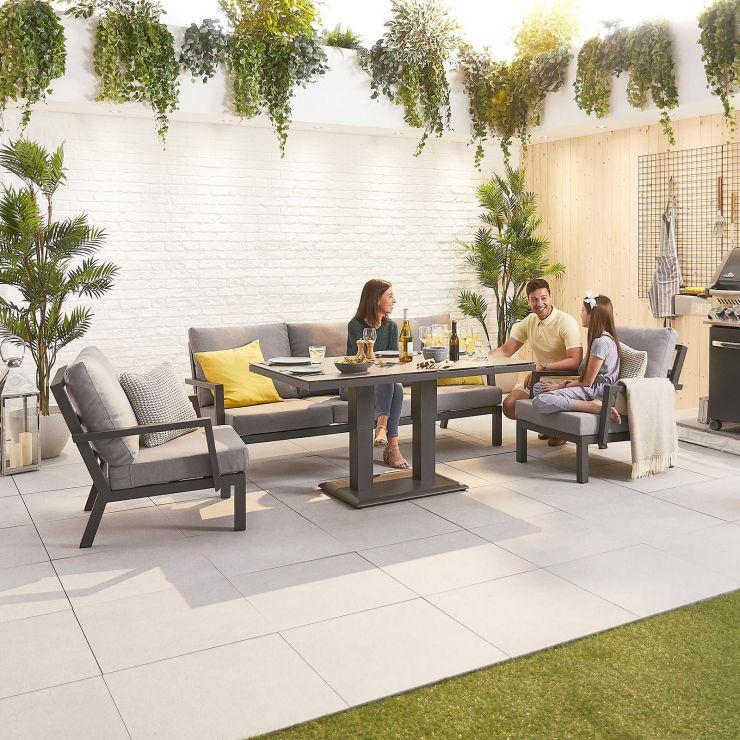Vogue Aluminium Casual Dining 3 Seater Sofa Set with Rising Table