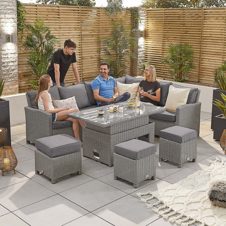 Ciara Right Hand Casual Dining Corner Sofa Set with Rising Table - White Wash