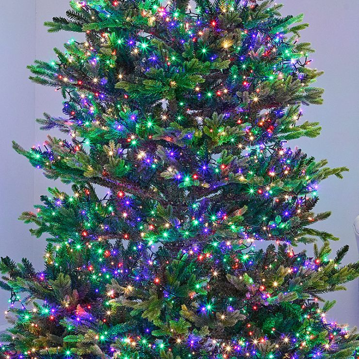 750 Multi Colour LED Compact Cluster Christmas Tree Lights (18.7m Lit Length)