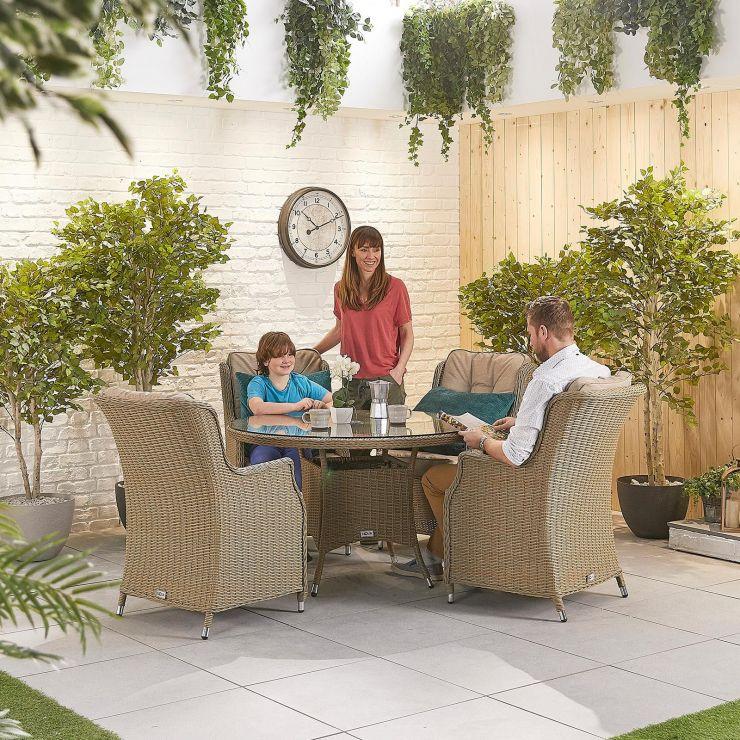 Thalia 4 Seat Dining Set - 1.2m Round Table - Willow