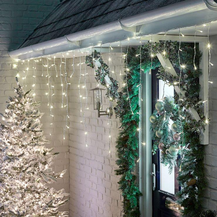 360 Warm White LED Snowing Icicle Lights (8.8m Lit Length)