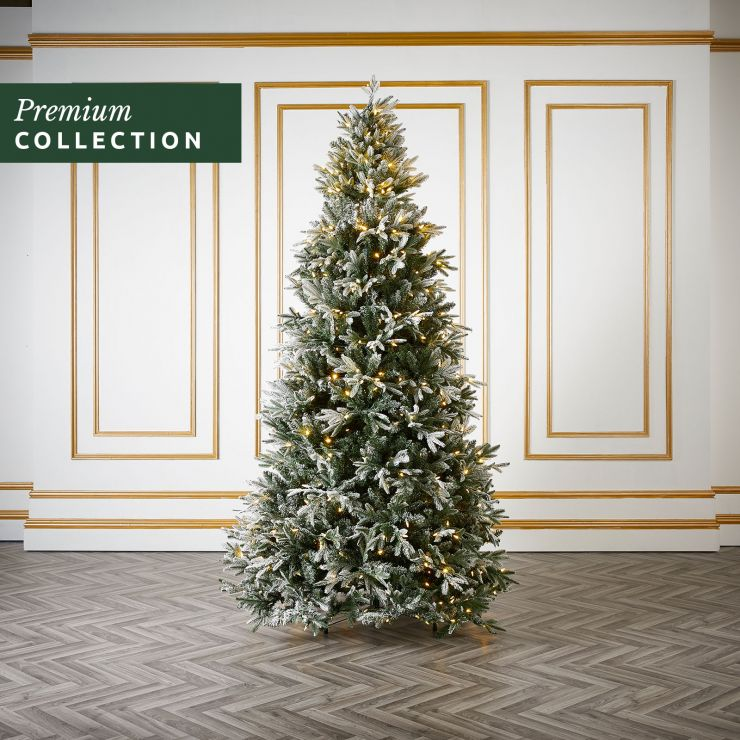 7.5ft Pre-Lit Frosted Scotch Pine Click & Connect Artificial Christmas Tree