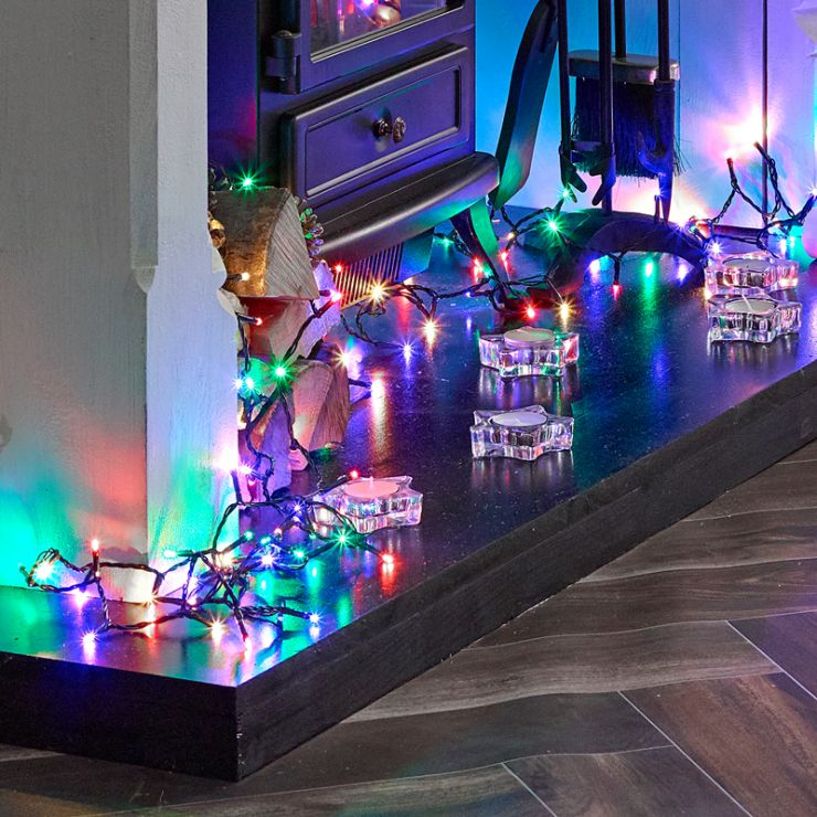 600 Multi Coloured LED Christmas Lights (30m Lit Length)