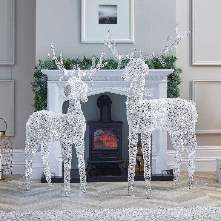 The Ralph Family - 150cm & 180cm White Rattan Christmas Reindeer