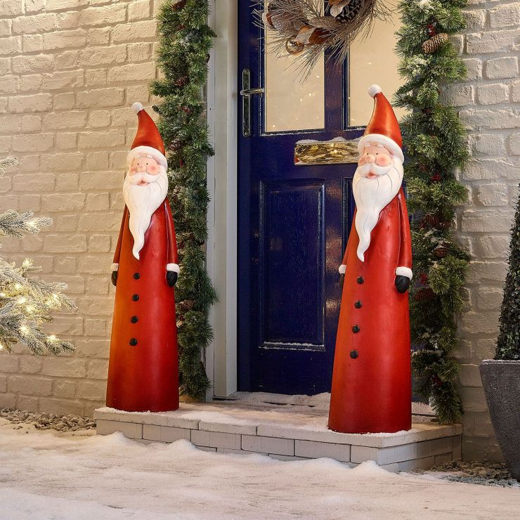 Pair of 102cm Father Christmas Santa Figures