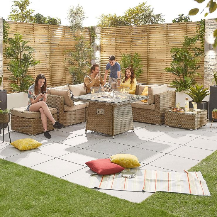 Heritage Chelsea 1C Corner Sofa Set with Firepit Table - Willow