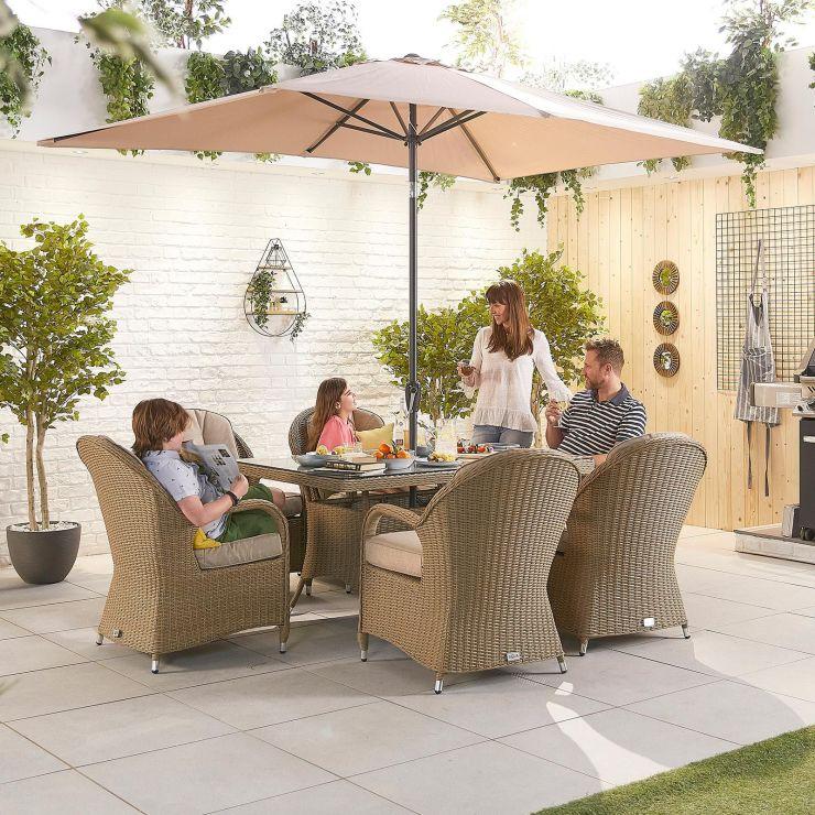 Leeanna 6 Seat Dining Set - 1.5m x 1m Rectangular Table - Willow
