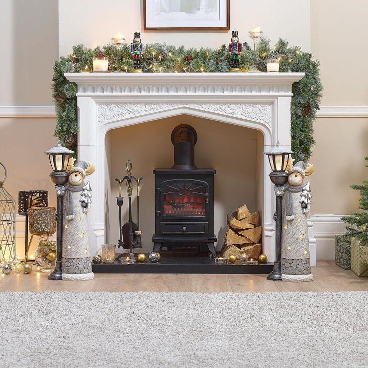 Pair of 75cm Silver Wonder the Christmas Reindeer Figures