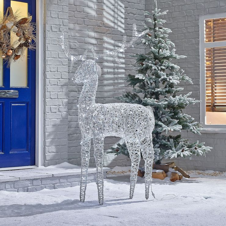 Ralph the 180cm White Rattan Christmas Reindeer