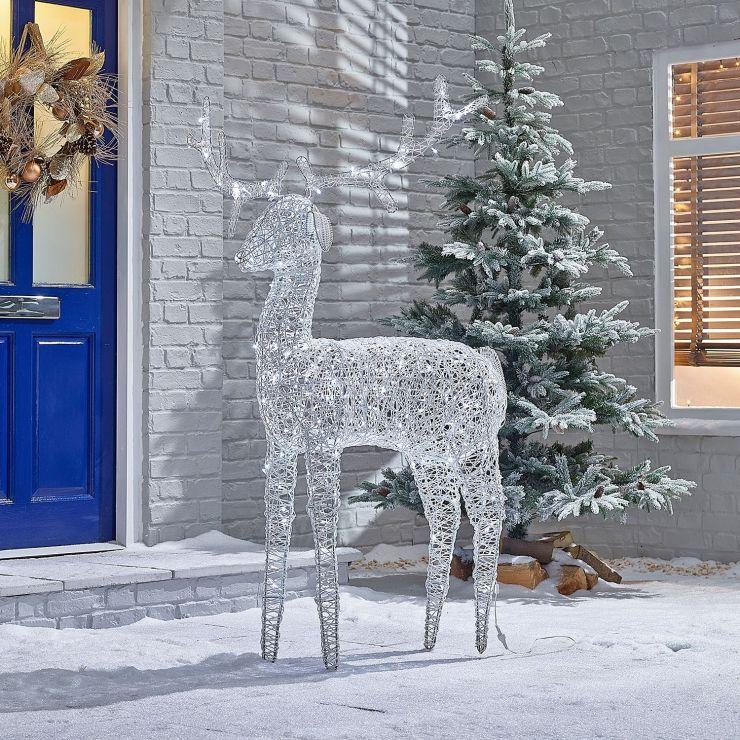 Ralph the 180cm White Rattan Christmas Reindeer
