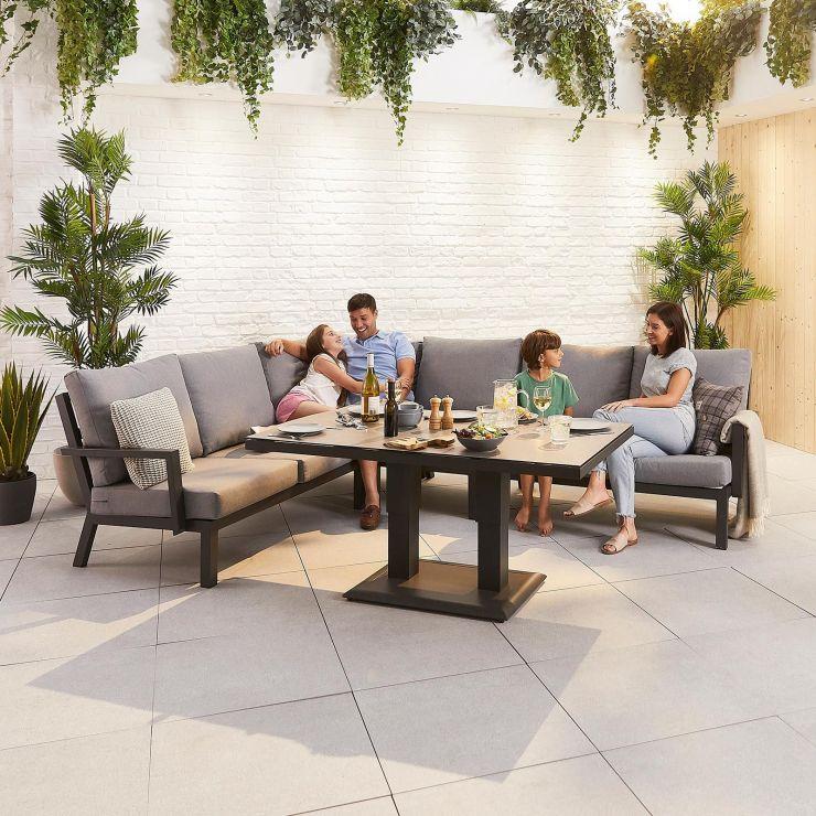 Vogue Aluminium Casual Dining Corner Sofa Set with Rising Table