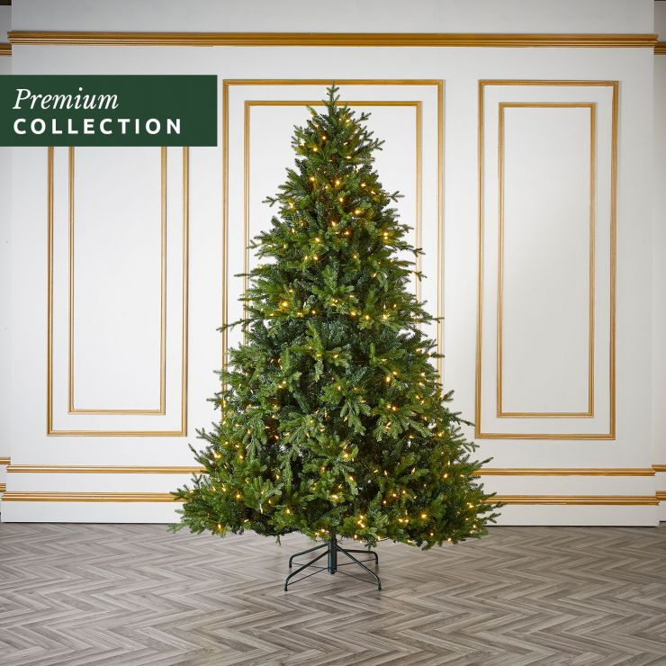 7.5ft Pre-Lit Serbian Spruce Click & Connect Artificial Christmas Tree