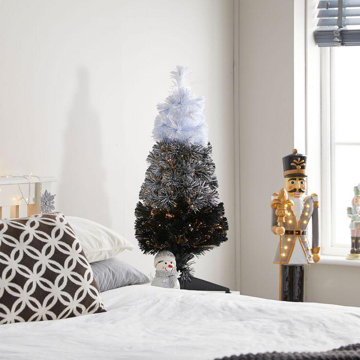 3ft Fibre Optic Eclipse Black & White Artificial Christmas Tree