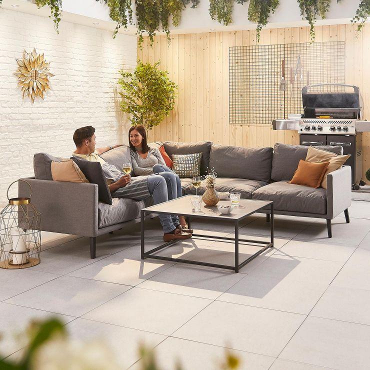 Bliss Outdoor Fabric Corner Sofa Set - Light Grey