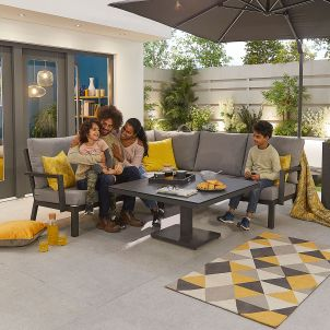 Compact Vogue Aluminium Casual Dining Corner Sofa Set with Rising Table - Grey Frame