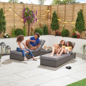 Rhodes Sun Lounger Set - Slate Grey