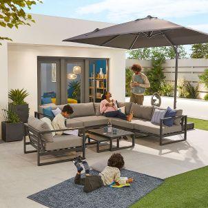 Alessandria Aluminium Corner Sofa Set with Armchair - Grey Frame