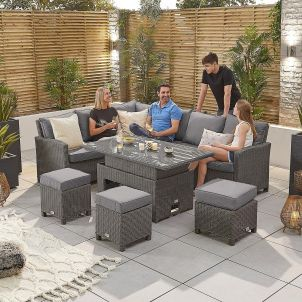 Ciara Left Hand Casual Dining Corner Sofa Set with Rising Table - Slate Grey