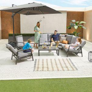 Enna Aluminium Reclining Corner Sofa Set with Armchairs - Grey Frame
