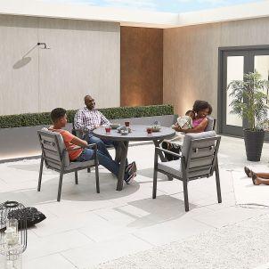 Enna 4 Seat Dining Set - 1.2m Round Table - Grey Frame