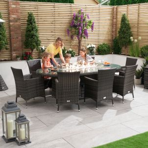 Amelia 8 Seat Dining Set - 2m x 1.2m Oval Firepit Table - Brown
