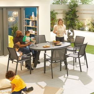 Milano 6 Seat Dining Set - 1.6m x 1m Oval Table - Grey Frame