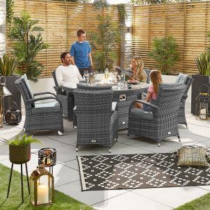 Olivia 6 Seat Dining Set - 1.5m Round Firepit Table - Grey