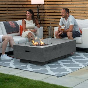 Fireglow Cairns Rectangular Gas Firepit Coffee Table with Wind Guard - Light Grey