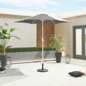 Antigua 2.4m Round White Frame Aluminium Parasol - Crank & Tilt - Grey Canopy